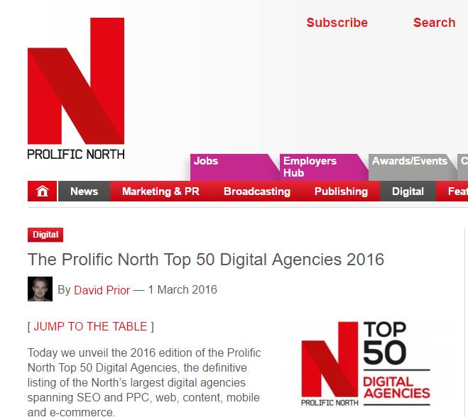 The Prolific North Top 50 Digital Agencies 2016