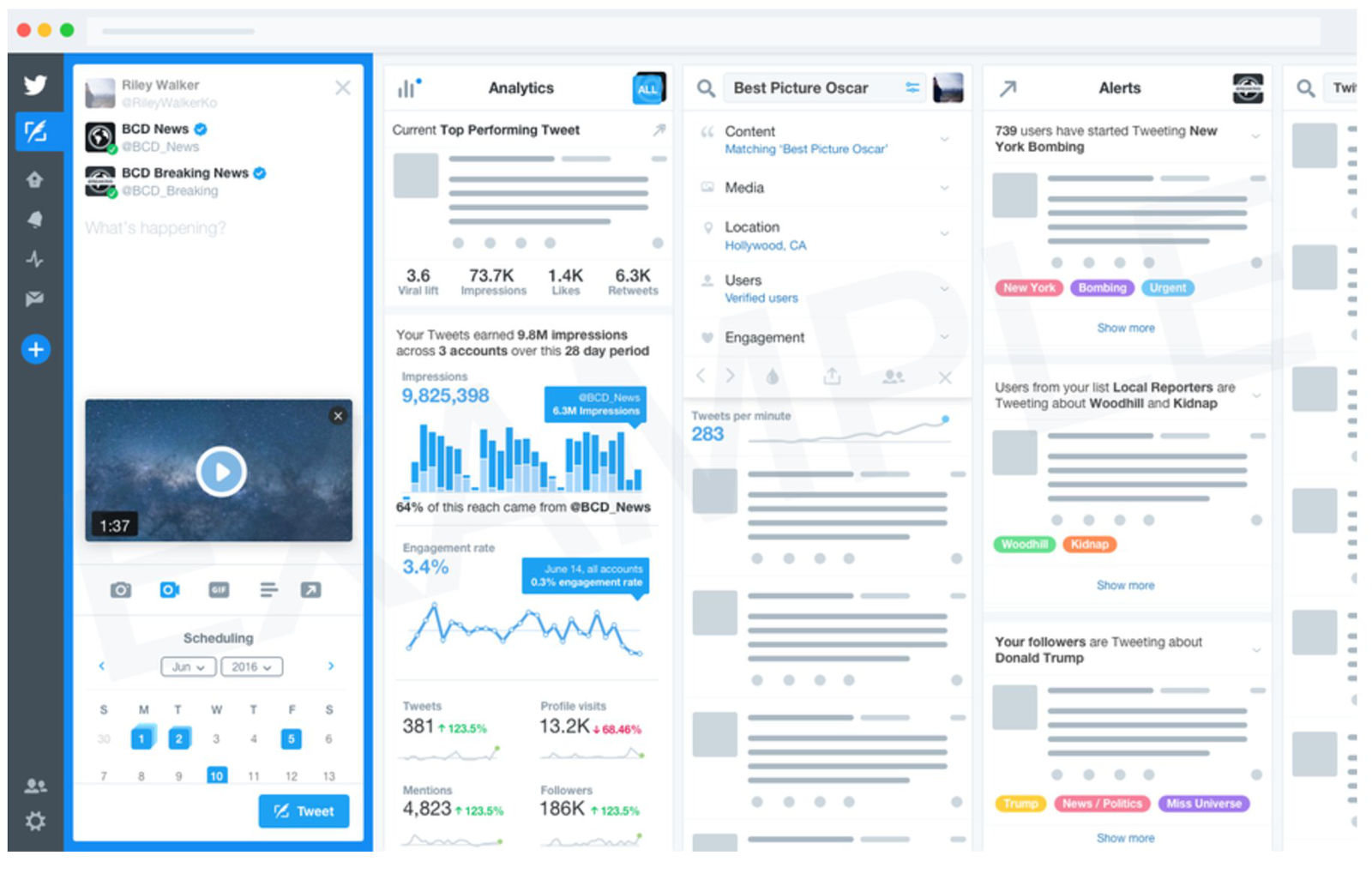 TweetDeck allows users to track engagement and schedule posts.